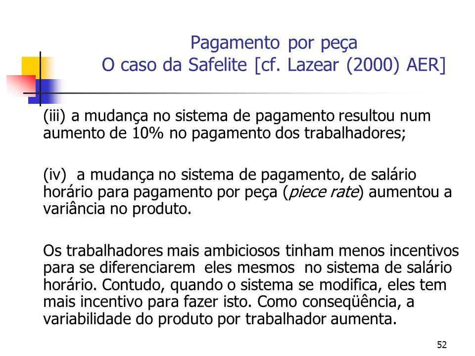 Pagamento por peça O caso da Safelite [cf. Lazear (2000) AER]